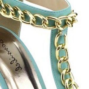 The Shoe Loft Shoes - Sophia Mint Chain T-Strap Platform Heels